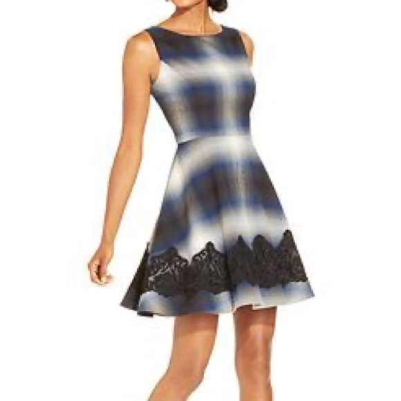 Jessica Simpson plaid fit and flare dress